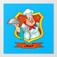 chef Canvas Prints featuring chef by Fargon