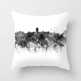 Sheffield skyline in black watercolor Throw Pillow