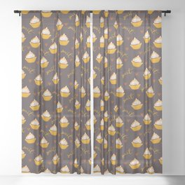 Baking Love Sweet Lemon Yellow Cupcake with Frosting and Pattern Sheer Curtain