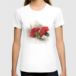 Red Carnations on Brocade T-shirt