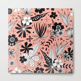 black and white floral on pink Metal Print