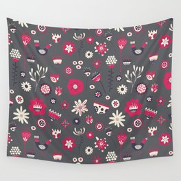 Scandi Floral Dark Wall Tapestry