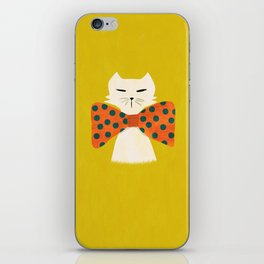 Cat with incredebly oversized humongous bowtie iPhone Skin