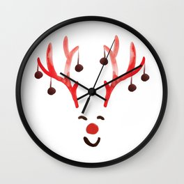 Rudy Red nose, Rudolf Reindeer, Xmas Santa Christmas watercolor designs Wall Clock