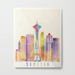 Seattle landmarks watercolor poster Metal Print