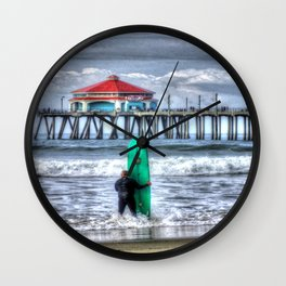 Surfing In Huntington Beach, California Wall Clock
