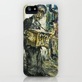 street musician playing on accordion iPhone Case
