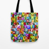 letters Tote Bags featuring Letters by Ronda Bröc