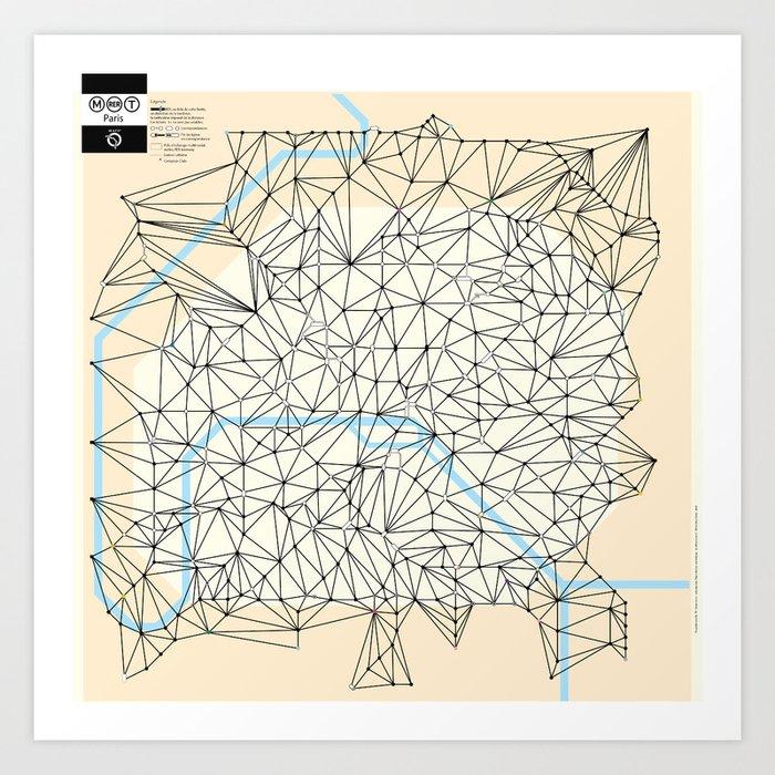 Paris Tube Stations Map Art Print