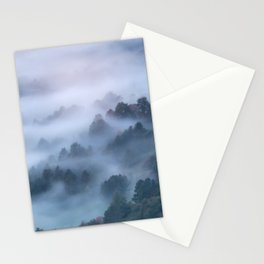 Morning fog rolling through trees Stationery Cards