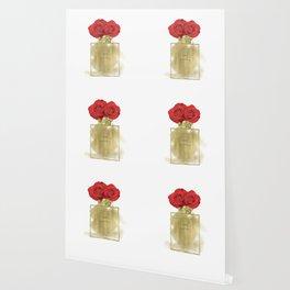 Red Roses & Fashion Perfume Bottle Wallpaper