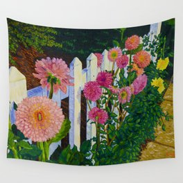 White Picket Fence with Dahlias Wall Tapestry
