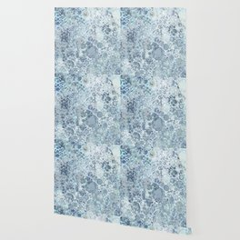 Abstract Faded Blue Grey Bubbles Wallpaper