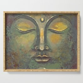 Rusty Golden Buddha Face - Zen and Balance Watercolor Painting Serving Tray