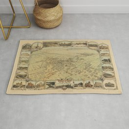 Vintage Bird's Eye Map Illustration - Bakersfield, Kern County, California (1901) Rug