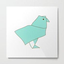 Origami Parrot Metal Print