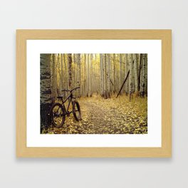 Golden Aspen Mountain Biking Framed Art Print