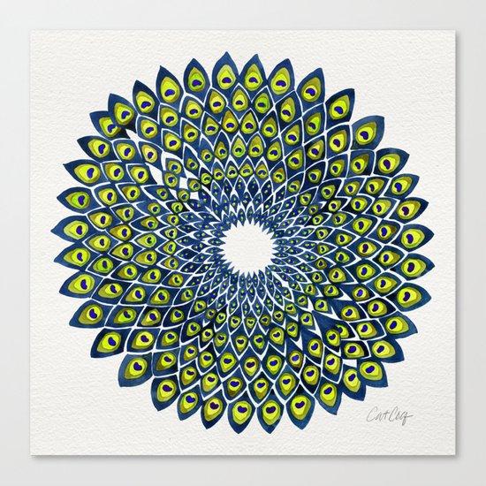 Peacock Feather Mandala – Navy & Lime Palette Canvas Print