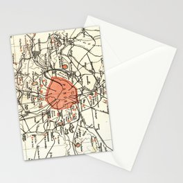 Vintage Paris and Surrounding Area Map (1890) Stationery Cards