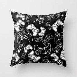 Video Games White on Black Throw Pillow