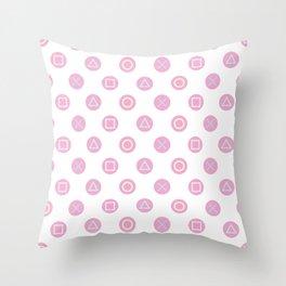 Gamer Girl - Pastel Controller Buttons Throw Pillow