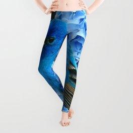 BLUE BIRD & BLUE HYDRANGEAS GREY ART Leggings