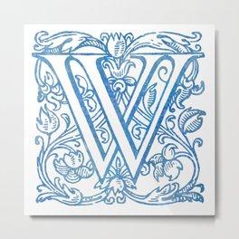 Letter W Elegant Vintage Floral Letterpress Monogram Metal Print
