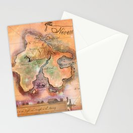 Never Land Map Stationery Cards