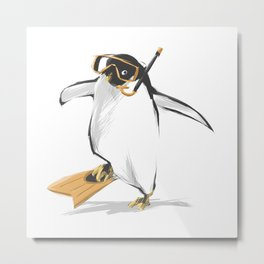 Penguin Is Ready To Dive Metal Print
