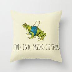 Seeing Eye Frog Throw Pillow