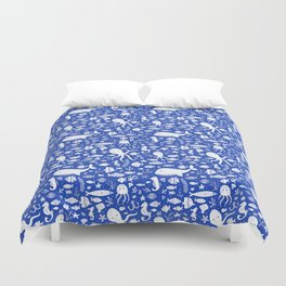 Underwater Sea Life Pattern in Cobalt Duvet Cover