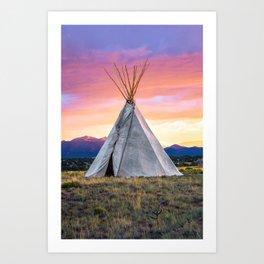 Southwest Sunset with Teepee Art Print