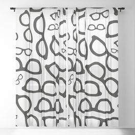 Smart Glasses Pattern Sheer Curtain