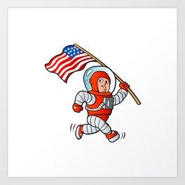 Astronaut with american flag Art Print