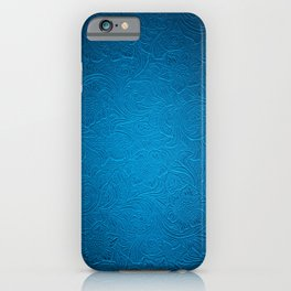 Royal Blue Tooled Leather iPhone Case