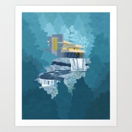 Falling water house Art Print