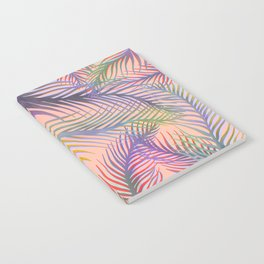 Palm Leaves Pattern - Purple, Peach, Blue Notebook