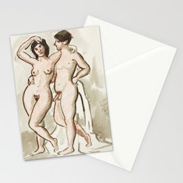 Naked woman and man. Male and Female Nude by Carl Newman Stationery Cards