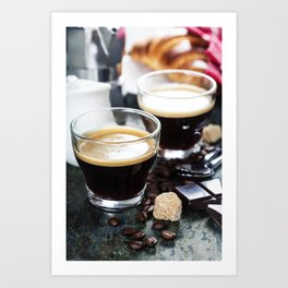 Breakfast with coffee and croissants Art Print