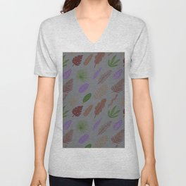 Modern abstract lavender green brown leaves pattern Unisex V-Neck