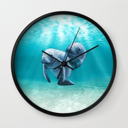 Two Manatees Swimming Wall Clock