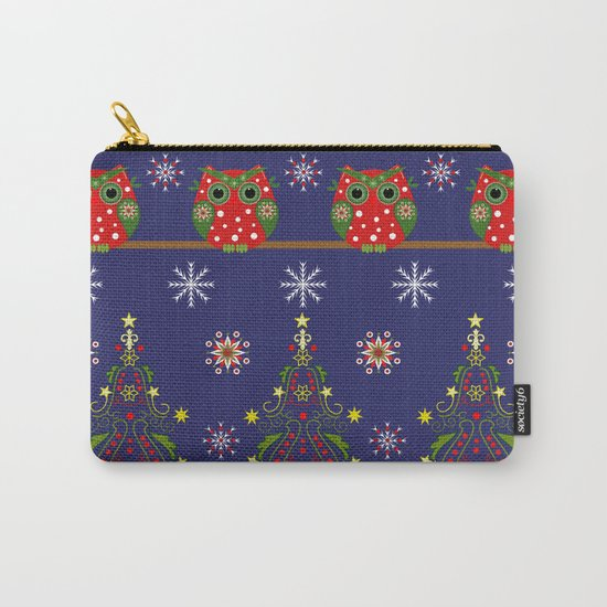 Pattern design with Christmas owls, trees and snowflakes Carry-All Pouch