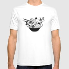 Noodle Wave White Mens Fitted Tee X-LARGE