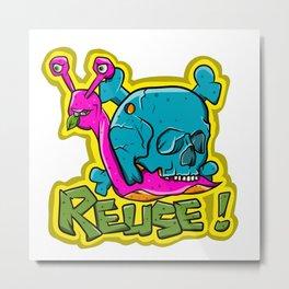 Recycle Reuse Snail Metal Print