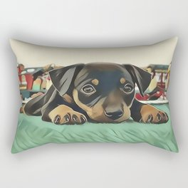 Doberman Puppy Protecting the 027 Railroad Rectangular Pillow