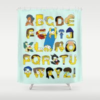simpsons Shower Curtains featuring Simpsons Alphabet by Mike Boon