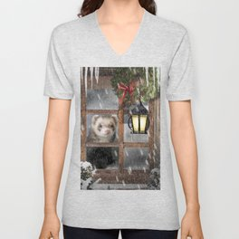 A Winters Day Indoors Ferret Unisex V-Neck