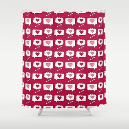 Doodle hearts and speech bubbles with a red background Shower Curtain