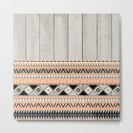 Peach Coral Andes Abstract Aztec Tribal Gray Wood Metal Print