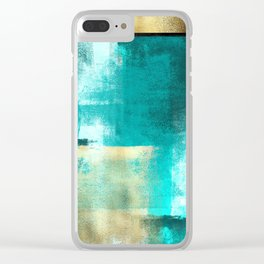 Minimal Abstract Deep Blue Seaside with Gold Clear iPhone Case
